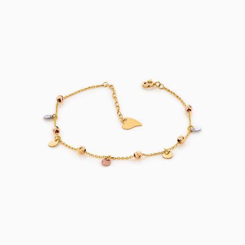 دستبند طلا 18 عیار زنانه زنجیری مدل گوی و پلاک کد BL0169