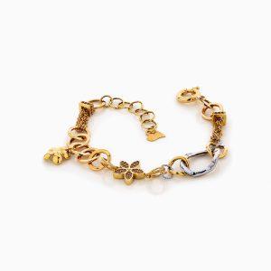 دستبند طلا 18 عیار زنانه زنجیری مدل طنابی میکس با آویز گل و برگ کد BL0174
