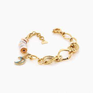 دستبند طلا 18 عیار زنانه زنجیری مدل طنابی میکس با آویز ماه کد BL0176