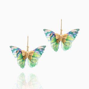 گوشواره طلا 18 عیار دخترانه فانتزی مدل پروانه بال رنگی کد ER0093