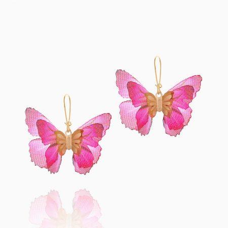 گوشواره طلا 18 عیار دخترانه فانتزی مدل پروانه بال رنگی کد ER0094