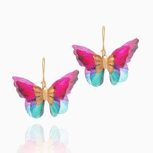 گوشواره طلا 18 عیار دخترانه فانتزی مدل پروانه بال رنگی کد ER0095