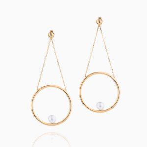 گوشواره طلا 18 عیار زنانه با سنگ مروارید مدل آویز حلقه و مروارید کد ER0096