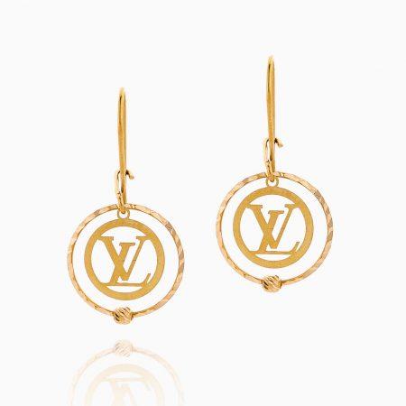 گوشواره طلا 18 عیار زنانه مدل حلقه ای LV کد ER0098