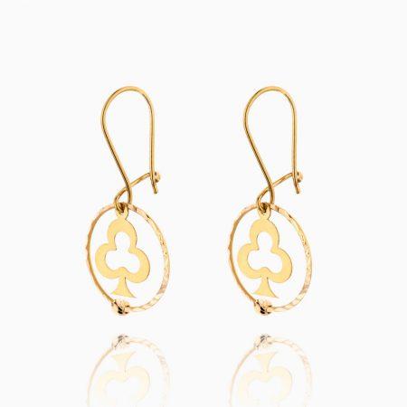 گوشواره طلا 18 عیار زنانه مدل حلقه ای طرح شبدر کد ER0099