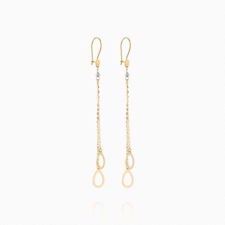 گوشواره طلا 18 عیار زنانه زنجیری مدل آویز گوی و حلقه کد ER0111