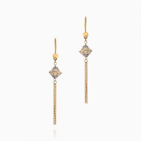 گوشواره طلا 18 عیار زنانه زنجیری مدل آویز زنجیری کد ER0113