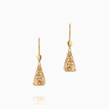 گوشواره طلا 18 عیار زنانه مدل آویز اسلیمی حرمی کد ER0115