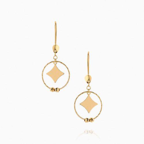 گوشواره طلا 18 عیار زنانه فانتزی مدل گوی و حلقه با پلاک چهارگوش کد ER0117