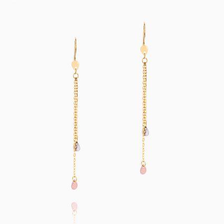 گوشواره طلا 18 عیار زنانه زنجیری مدل آویزپولک سفید و رزگلد کد ER0121