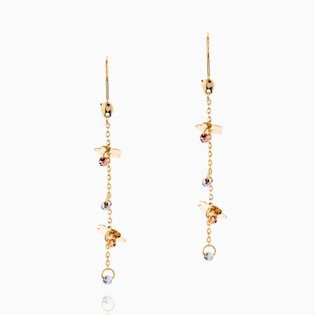 گوشواره طلا 18 عیار زنانه زنجیری مدل آویزگوی پولک گل کد ER0127