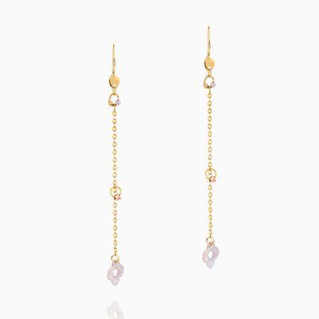 گوشواره طلا 18 عیار زنانه زنجیری مدل آویزگوی و پولک گل کد ER0128