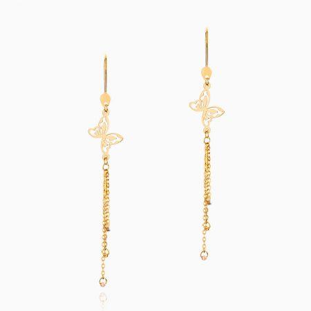گوشواره طلا 18 عیار زنانه زنجیری مدل آویز گوی و پروانه کد ER0133