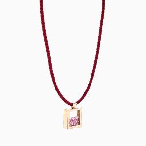 مدال طلا 18 عیار زنانه چرمی مدل مکعب شیشه ای کد NL0113