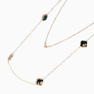 گردنبند طلا 18 عیار زنانه رولباسی مدل ونکلیف ماربل سبز کد NL0114