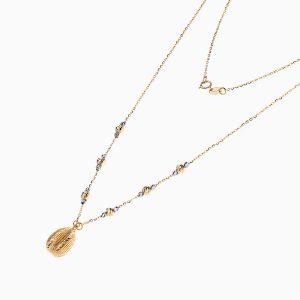 گردنبند طلا 18 عیار زنانه مدل گوی داربا آویز اشک کد NL0118