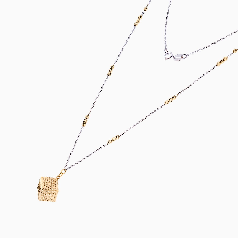 گردنبند طلا 18 عیار مدل گوی دار با آویز مکعبی کد NL0119
