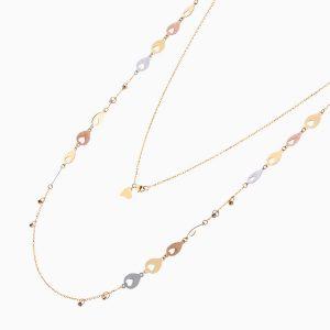 گردنبند طلا 18 عیار زنانه رولباسی مدل گوی و قلب کد NL0122