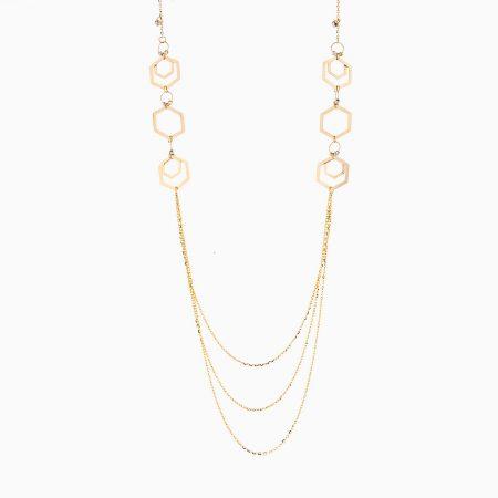 گردنبند طلا 18 عیار زنانه رولباسی مدل گوی و شش ضلعی کد NL0123