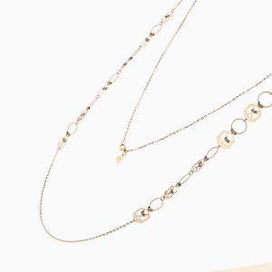 گردنبند طلا 18 عیار زنانه رولباسی مدل گوی و شش ضلعی کد NL0124