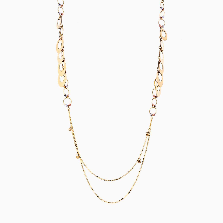 گردنبند طلا 18 عیار زنانه رولباسی مدل گوی و حلقه کد NL0126