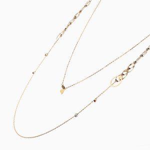گردنبند طلا 18 عیار زنانه رولباسی مدل گوی و حلقه کد NL0127