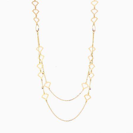 گردنبند طلا 18 عیار زنانه رولباسی مدل گوی و طرح الماس کد NL0128