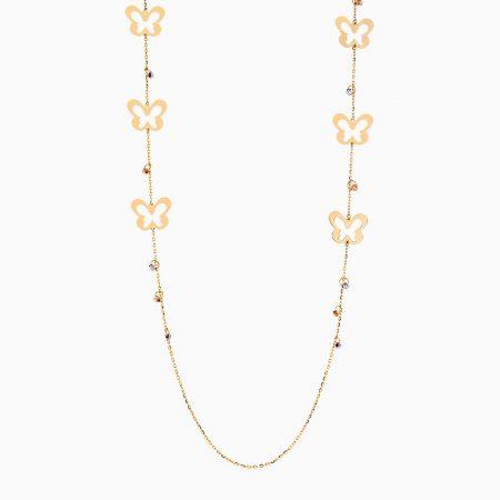 گردنبند طلا 18 عیار دخترانه رولباسی مدل گوی و پروانه کد NL0129