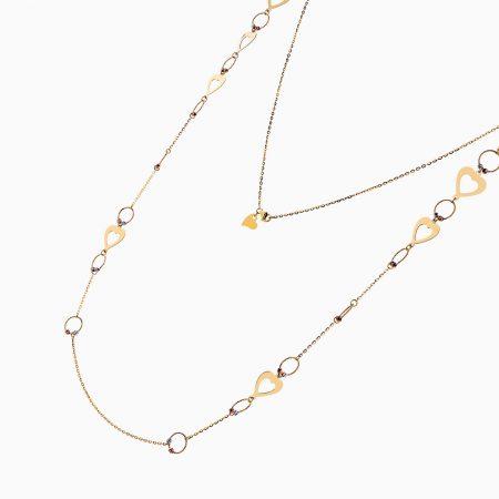 گردنبند طلا 18 عیار زنانه رولباسی مدل گوی و قلب کد NL0130