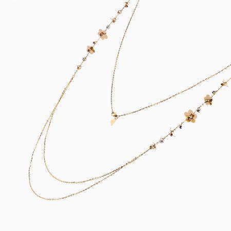 گردنبند طلا 18 عیار دخترانه رولباسی مدل گوی وگل کد NL0131