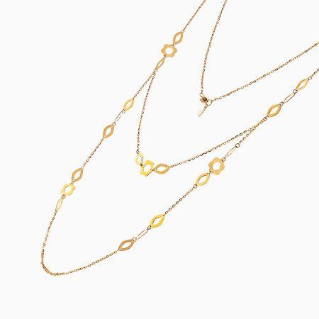 گردنبند طلا 18 عیار زنانه رولباسی مدل گل کد NL0132