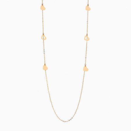 گردنبند طلا 18 عیار دخترانه رولباسی مدل قلب کد NL0133