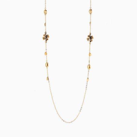 گردنبند طلا 18 عیار زنانه رولباسی مدل گل و پولک کد NL0134