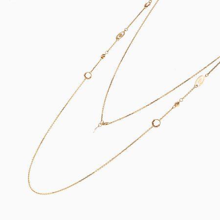 گردنبند طلا 18 عیار زنانه رولباسی مدل گوی و زنجیر کد NL0135