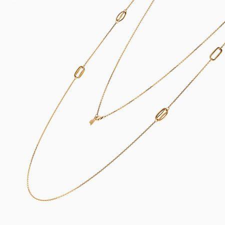 گردنبند طلا 18 عیار زنانه رولباسی مدل زنجیر متصل کد NL0136