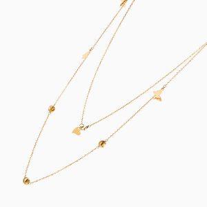 گردنبند طلا 18 عیار دخترانه رولباسی مدل گوی و پروانه کد NL0137