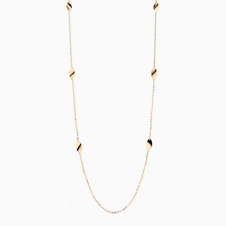 گردنبند طلا 18 عیار زنانه رولباسی مدل زنجیر و برگ کد NL0138
