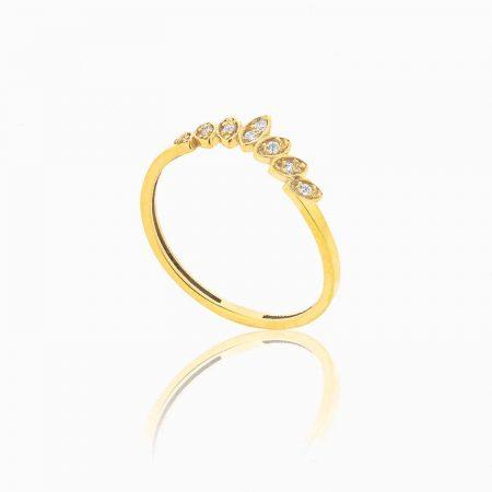 انگشتر طلا 18 عیار زنانه اسپورت با نگین اتمی مدل بند انگشتی گلبرگ کد RG0141