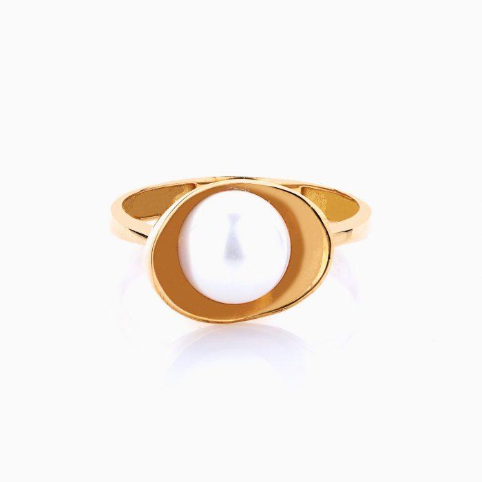 انگشتر طلا 18 عیار زنانه با سنگ مروارید مدل صدف کد RG0149