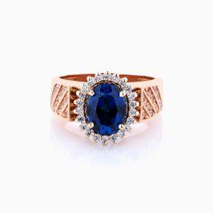 انگشتر طلا 18 عیار زنانه نگین دار اتمی مدل سولیتر کهربا کد RG0152
