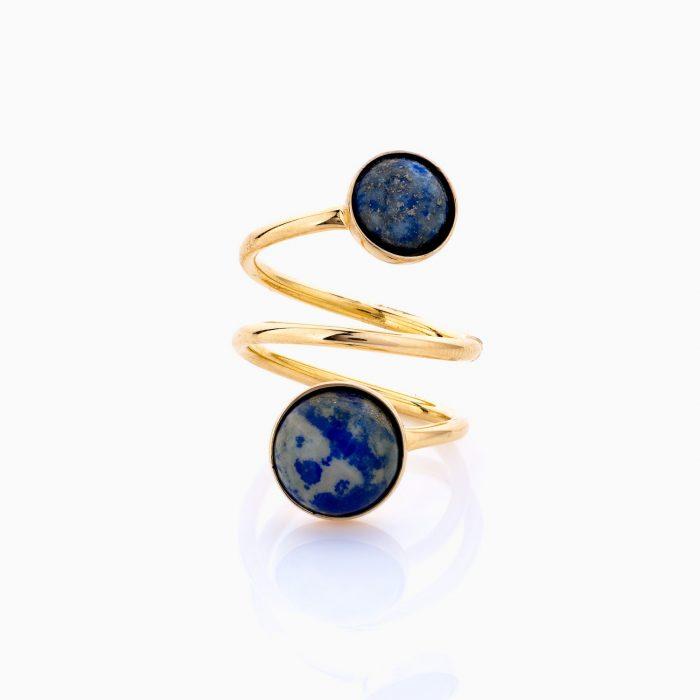 انگشتر طلا 18 عیار زنانه با سنگ طبیعی مدل نگین دار کهکشانی کد RG0156