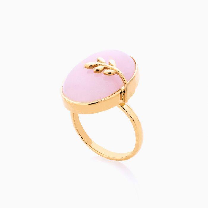 انگشتر طلا 18 عیار زنانه با سنگ مرمر مدل سنگ و برگ کد RG0157