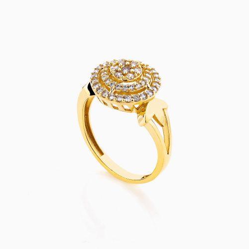 انگشتر طلا 18 عیار زنانه سولیتر نگین دار اتمی مدل گنبدی کد RG0175