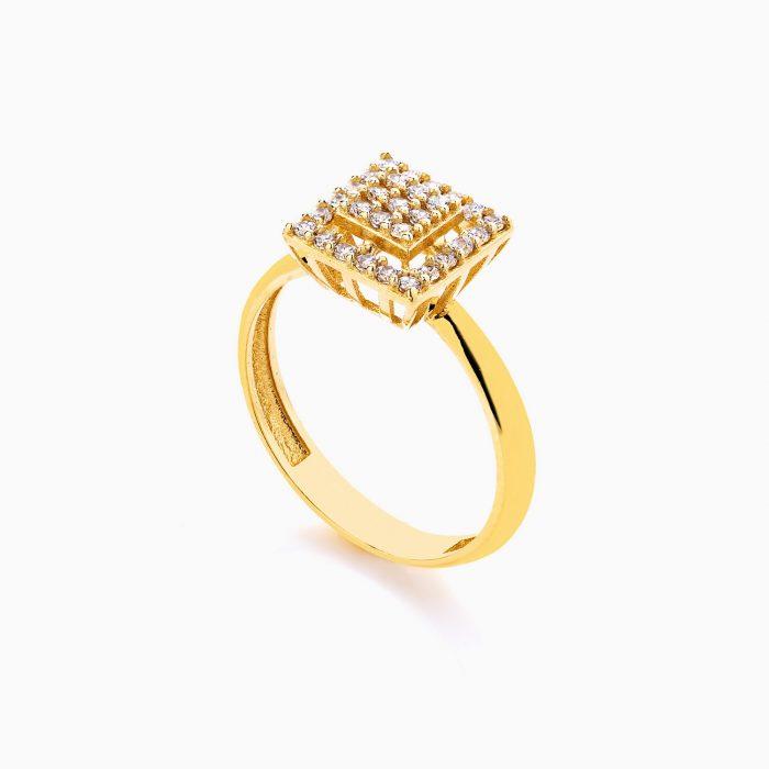 انگشتر طلا 18 عیار زنانه سولیتر نگین دار اتمی مدل پایه مربعی کد RG0177