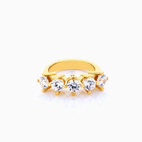انگشتر طلا 18 عیار زنانه سولیتر نگین دار اتمی مدل پایه چنگکی تک ردیف کد RG0180