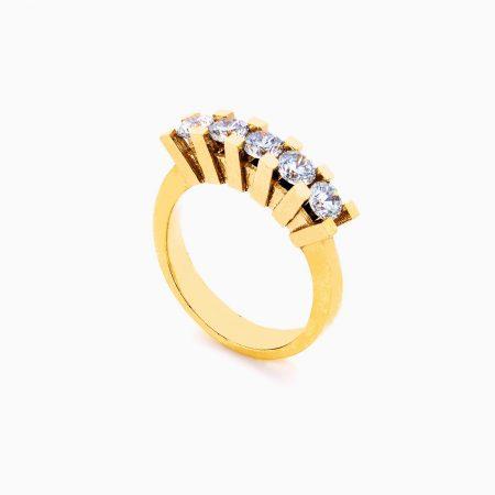 انگشتر طلا 18 عیار زنانه سولیتر نگین دار اتمی مدل پایه چنگکی تک ردیف کد RG0183