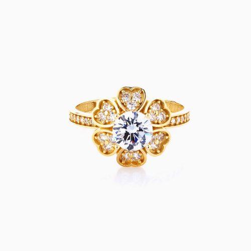 انگشتر طلا 18 عیار زنانه سولیتر اتمی مدل پابه نگین دار طرح گل کد RG0184