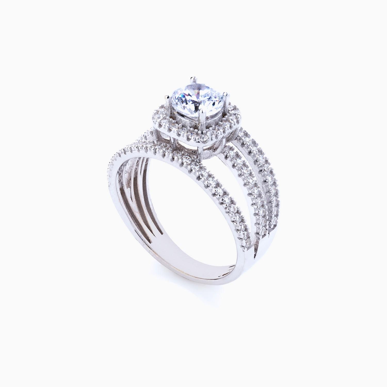انگشتر طلا 18 عیار زنانه سولیتر نگین دار اتمی مدل حلقه پشت حلقه پایه مربعی کد RG0187