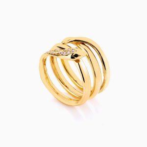 انگشتر طلا 18 عیار زنانه فانتزی نگین دار اتمی مدل انگشتر ماری کد RG0189