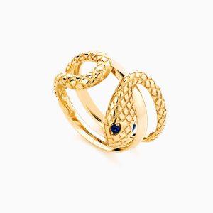 انگشتر طلا 18 عیار زنانه فانتزی نگین دار اتمی مدل انگشتر ماری کد RG0190
